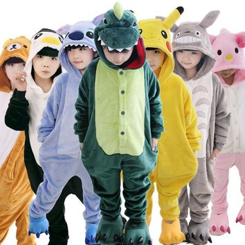Baby Boys Girls Pajamas Autumn Winter Children Flannel Warm animal penguin Stitch panda Onesuit Sleepwear totoro Pajamas for Kids