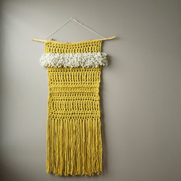 Weaving Wall Hanging Yellow Green / Extra Large Modern Tapestry / Boho Fringe / Woven Wool Art / Crochet Rustic Textile / Modern Home Décor