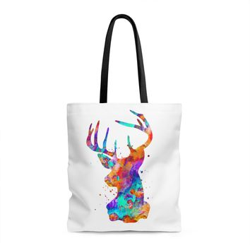 Watercolor Stag Head Tote Bag