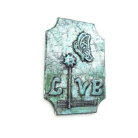 Live Wooden Wall Word art sign in metallic aqua and green whimsical butterfly art decorative sign