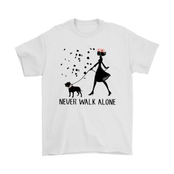 ESBV4S Never Walk Alone - Girl Together With Pitbull Shirts