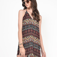 Aztec Printed Halter Dress
