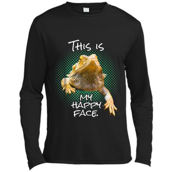 This Is My Happy Face Bearded Dragon Funny Reptile  Long Sleeve Moisture Absorbing Shirt