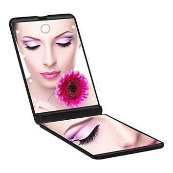 Magnifying Makeup Mirror Ultra-thin Led Lighted Compact Travel Makeup Mirror, Portable Folding Cosmetic Mirror 8 Bright LED Lights Adjustable Brightness