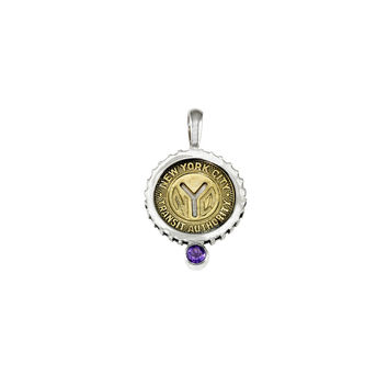 February NYC Authentic Subway Token Amethyst Sterling Silver Charm Necklace