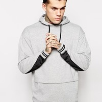 ASOS Longline Hoodie With Pouch Pocket & Mesh Panels