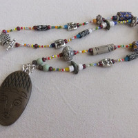 Carved Faces and African Trade Bead Tribal Necklace