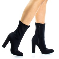 spazz1 Black By Liliana, Stretchy Pointed Toe High Ankle bootie w Half Moon Chunk Block Heel