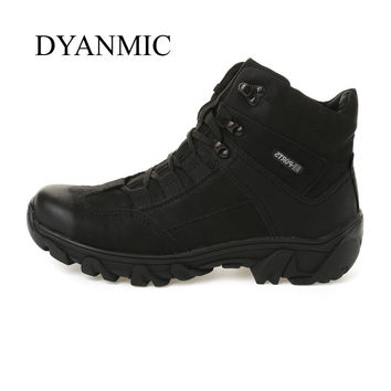 Men Military Sport Boots DYANMIC Men Winter Black Super Warm PU Leather Hiking Boots High Quality Handmade Outdoor Shoes