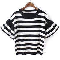 Black White Bell Sleeve Striped Knit Cropped Sweater