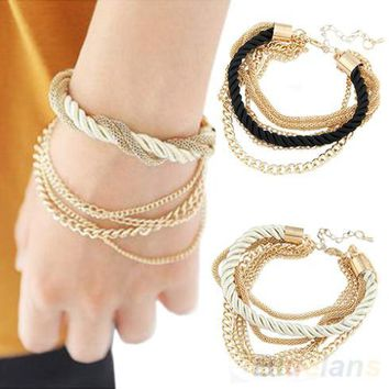 Fashion Jewelry Elegant Gold Color Chain Braided Rope Multilayer Bracelet Hand Chain for Women 065J