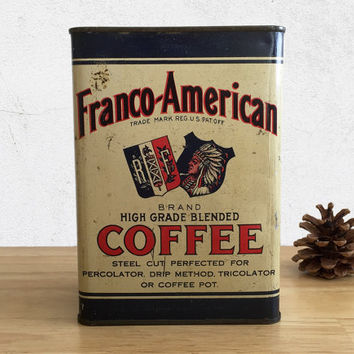 Vintage Franco American Coffee Tin Can / Young Griffin Coffee Co / Farmhouse Rustic Kitchen Decor / General Store / Advertising Collectible