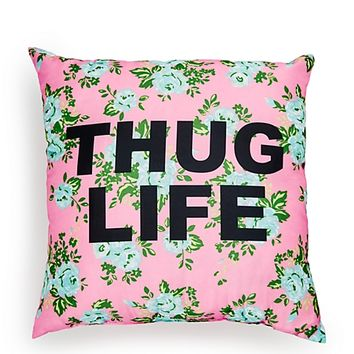 Thug Life Floral Pillow