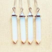 Moonstone Necklace - Point Necklace, Opalite Necklace, Moonstone Point Necklace, Birthstone Necklace, October Birthstone FREE SHIPPING