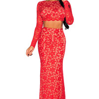2Pcs Red Lace Backless Long Sleeves Maxi Skirt Set