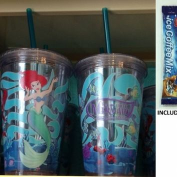 """Disney Parks The Little Mermaid """"Ariel's Undersea Adventure"""" Plastic Tumbler w/ Straw - Disney Parks Exclusive & Limited Availability + Single Pack Instant Ice Coffee Included"""