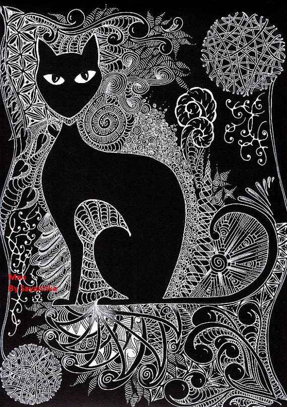 Mau 8x11 black cat artwork zentangle from sayantikas on etsy