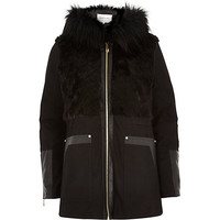 River Island Womens Black faux fur panel long sleeve jacket