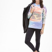 FOREVER 21 Cloud Cheeseburger Graphic Sweatshirt Light Blue/Multi