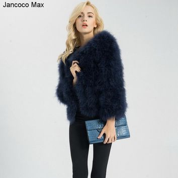 Jancoco Max S1002 Women 2018 Real Fur Coat  Genuine Ostrich Feather Fur Winter Jacket Retail / Wholesale Top Quality