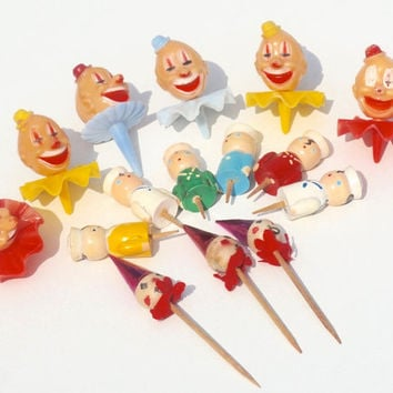 Mixed Lot  of Vintage Cake Toppers & Wooden Birthday Candle Holders,Circus Clowns, Sailors,Cupcake Picks,Childrens Birthday Cake Decorations