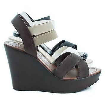 Benny By City Classified, Open Toe Strappy Elastic Ankle Cuff Platform Casual Wedges Women Shoes