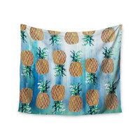 "Nikki Strange ""Pineapple Beach"" Blue Brown Wall Tapestry"