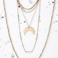 Layered Moon Charm Necklace