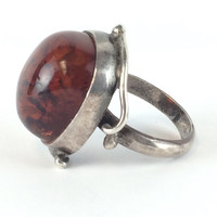 Vintage Baltic Amber Ring, Art Nouveau Sterling Silver Amber Ring, Scandinavian Ring, Antique Jewelry, Baltic Amber Ring Size 6 Gift for Her