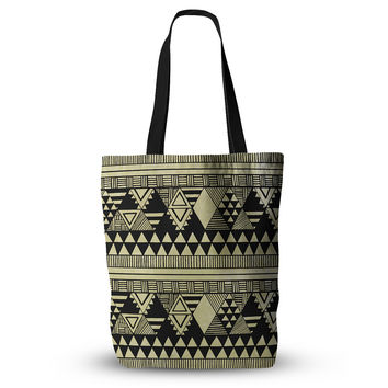 "Louise Machado ""Ethnic Chic"" Tan Black Everything Tote Bag"