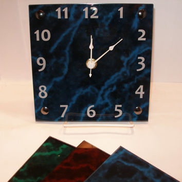 Marbled Acrylic Wall Desk shelf clock Two sizes available  Blue red green color options
