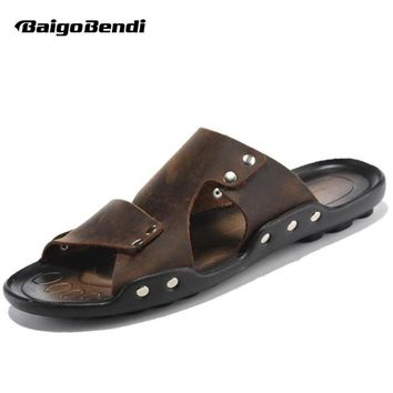 EUR 38-44 New Leather Casual Slipper Flip Flop Thongs Sandal Slides Mens Summer Outdoor Shoes
