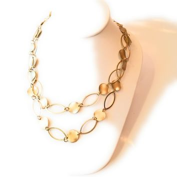 Minimal Gold-tone Oblong Coin Disc Necklace and Drop Earring Set