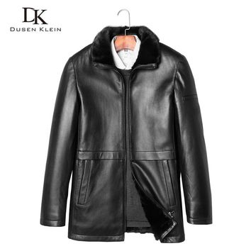 Shearling coat Dusen Klein New Brand Luxury Leather Jackets Genuine sheepskin men's mink fur liner men leather coats 71J7851