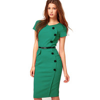 Summer Formal Women Office Business Dresses Casual Short Sleeve Solid Black Button Career Stretch Bodycon Dress With Pocket E531