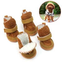 4 Pcs Pet Dog Puppy Cotton Blend Shoes Winter Snow Warm Walking Boots Khaki New - L