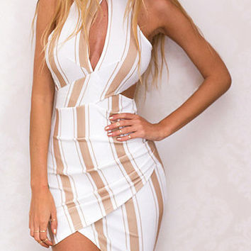 White Stripe Contrast Wrap Cut Out Midi Dress