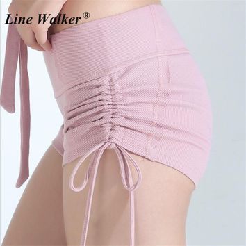 Line Walker Bandage Bow Fitness Yoga Shorts Women Knitted Stripe Breathable Sports Running Short Pants Drawstring Gym Athletic
