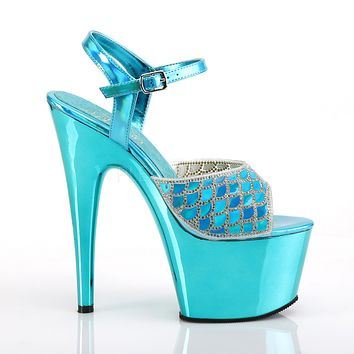 "Adore 709MMRS Turquoise Mermaid Scale Platform 7"" High Heel Shoes"