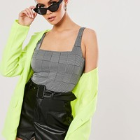 Missguided Glen Plaid Bodysuit