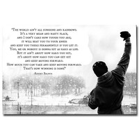 ROCKY BALBOA - Motivational Quotes Art Silk Fabric Poster Print 13x20 24x36inch Inspirational Movie Pictures for Home Wall Decor