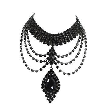 Renaissance Victorian Black Rhinestone Chandelier Choker Necklace and Earrings Set