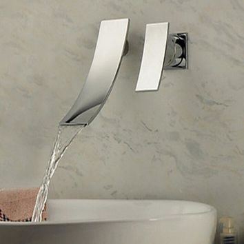 Wall Mounted Waterfall Spout Chrome Faucet Single Handle