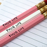 Pink White Pencil Set. Office Supplies. Thug Life. Set of 3 Pencils. Hot Foil Stamped Pencils. Pink Pencils.