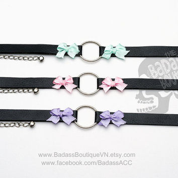 Kitty O Ring ribbon bow collar, choker, necklace. Cosplay cat lover Halloween Goth punk rock gothic black vegan leather lavender cyan pink.
