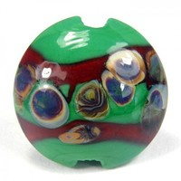 Green Rustic Lampwork Glass Focal Lentil Bead With Raku Blue And Cream | Covergirlbeads - Jewelry on ArtFire
