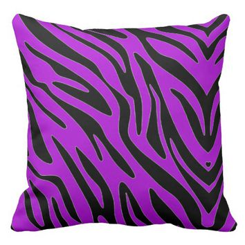 20 X 20 PURPLE ZEBRA PRINT THROW PILLOW