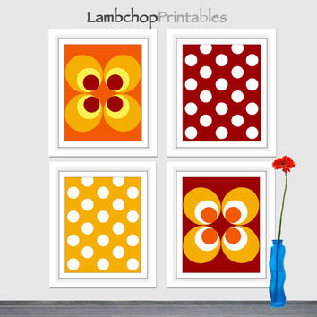 Geometric Wall Art, Set of Four, Abstract Colorful Circle Prints, Orange Yellow, Blood Red, Circle Art, Circle Print, Poster, 8x10, Wall Art