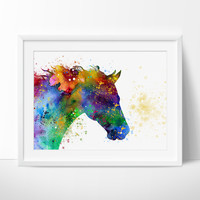 Horse Watercolor Painting Print, Animal Portrait, Horse Painting, Horse Art, Animal Art, Animal Watercolor,  illustration Print(186)