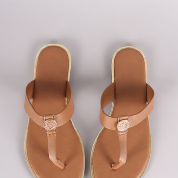 Bamboo Vegan Leather Coin Accent Thong Flat Sandal
